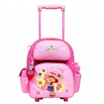 Strawberry Shortcake Kitten Small Rolling Backpack with Water Bottle #33704