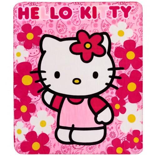 Hello Kitty Flower Pink Fleece Blanket #70332
