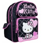 Hello Kitty Quilt Black Large Backpack #81579