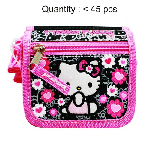 Hello Kitty Floral Heart Black String Wallet #84014
