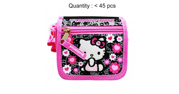 17268ac69 Hello Kitty Floral Heart Black String Wallet #84014