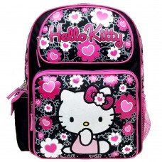 Hello Kitty Floral Heart Black Large Backpack #84011