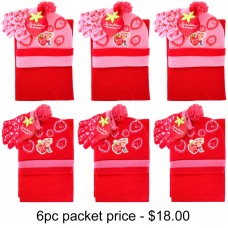 Strawberry Shortcake Berry Cool 3pcs Set (Beanie, Glove, Scarf) Pack of 6 #AGKS5308-3PACK
