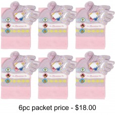 Princess Crown on Glove 3pcs Set (Beanie, Glove, Scarf) Pack of 6 #PGKS3057-3PACK