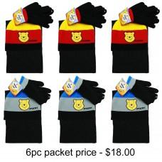 Winnie the Pooh 3pcs Set (Beanie, Glove, Scarf) Pack of 6 #WBKS4112-3PACK